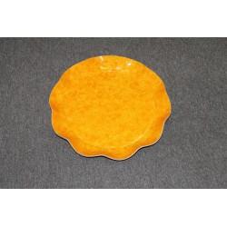 2 grands plats ronds festonés orange moucheté Ø 40 cm