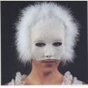 Demi masque vénitien blanc pailleté argenté et marabout blanc