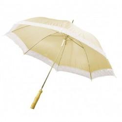 Ombrelle du Bonheur Parapluie de mariage en tissu ivoire avec dentelle écrue