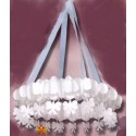 Lustre blanc en Couronne papier 76 cm Suspension