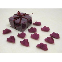 100 pétales de rose en tissu bordeaux