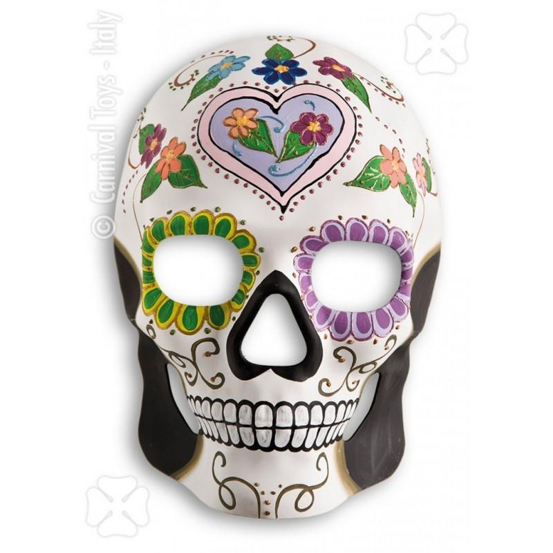 masque cr ne blanc d cor squelette mexicain coeur parme. Black Bedroom Furniture Sets. Home Design Ideas