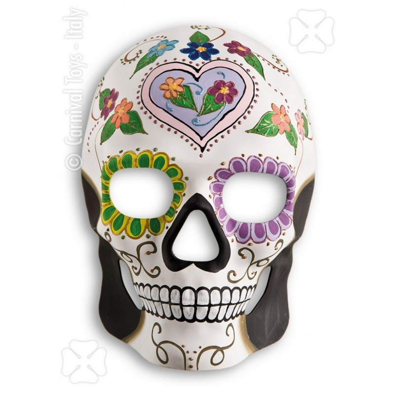 masque cr ne blanc d cor squelette mexicain coeur parme festi fiesta. Black Bedroom Furniture Sets. Home Design Ideas