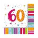 16 grandes serviettes anniversaire 60 ans 32.7 x 32.7 cm papier
