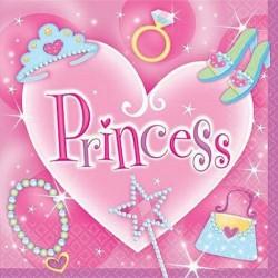16 grandes serviettes princesse rose 32.7 cm x 32.7 cm
