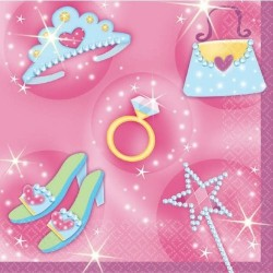 16 petites serviettes princesse rose 24.7 x 24.7 cm