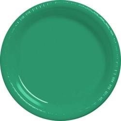 20-assiettes-plates-en-plastique-vert-o-23-cm