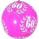 """1 ballon de baudruche """"60 ans"""" rose fuchsia 80 cm laurier"""