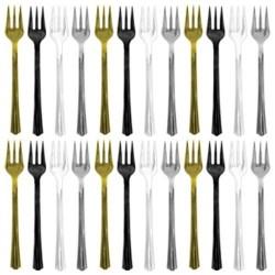 24-fourchettes-cocktail-party-pack-or-argent-noir-et-transparent