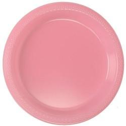 20 assiettes plates en plastique rose Ø 17.8 cm
