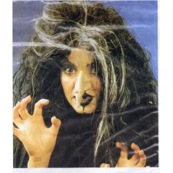 Perruque Vampirella noir et blanc sorcière Tornade