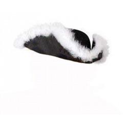 chapeau-tricorne-pirate-feutrine-noir-et-marabout-blanc-corsaire