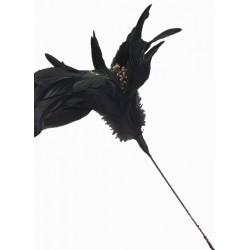 Superbe fleur en plumes noires naturelles souples Ø 20 à 21cm