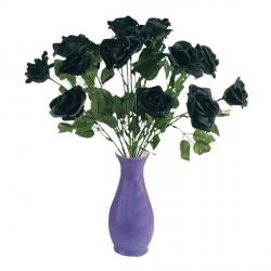 Fleur sur tige rose noire en tissu Rose d'Halloween