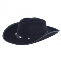 chapeau-cow-boy-noir-plastique-floque-avec-ruban-et-biais-noir