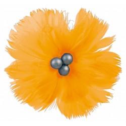 superbe-fleur-en-plumes-naturelles-orange-mandarine