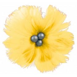 superbe-fleur-en-plumes-naturelles-jaune-vif