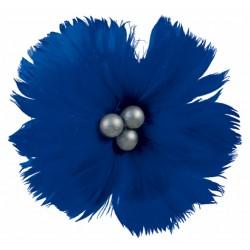 superbe-fleur-en-plumes-naturelles-bleu-roi