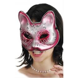 masque-de-chat-rose-fuchsia-avec-volutes-et-paillettes-argent