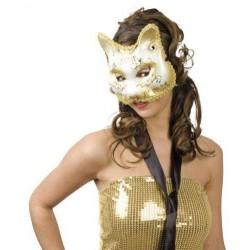 masque-de-chat-blanc-et-or-avec-volutes-et-paillettes-dorees