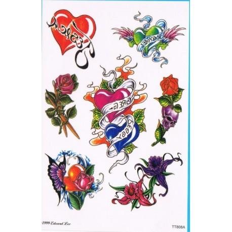 1 Tatouage Temporaire Motif Coeurs Fleur Greg Peggy Festi Fiesta