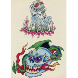 Tatoo squelette sortant du feu et un dragon sur crâne