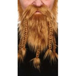 Barbe collier blonde avec moustache 5 tresses pour viking