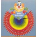 Eventail clown Bon Anniversaire arc en ciel