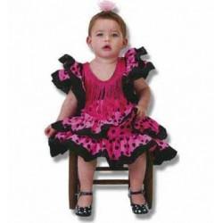 espagnole-sevillane-rose-fuchsia-a-pois-noir-taille-3-5-ans