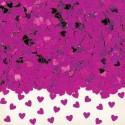 Confettis de table Petits Cœurs en plastique métallisé fuchsia