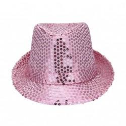 borsalino-en-tissu-rose-vif-avec-paillettes-rose-taille-52