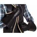 Gants faux cuir noir avec manchettes