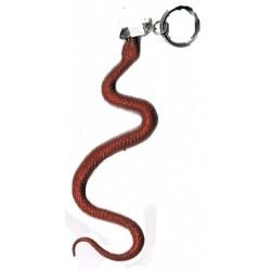 porte clef Serpent marron roux 11 cm en plastique