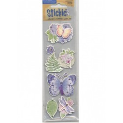 7 stickles autocollants Botanique papillons, libellule