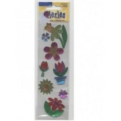 8 stickles fleurs en papier foil autocollant métallisé