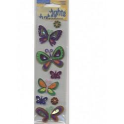6 stickles papillons 2 stickles Fleurs en papier foil autocollan