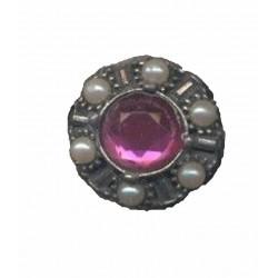 bague-argentee-pierre-fuchsia-et-petites-perles-blanches