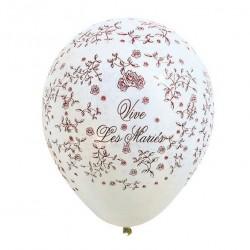 """8 ballons de baudruche blanc """"Vive les Mariés"""""""