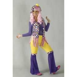 hippie femme violet rose et fleurs taille 38/40