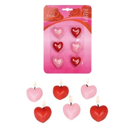6 bougies en forme de coeur 3 rouges et 3 roses Candles hearts Saint Valentin