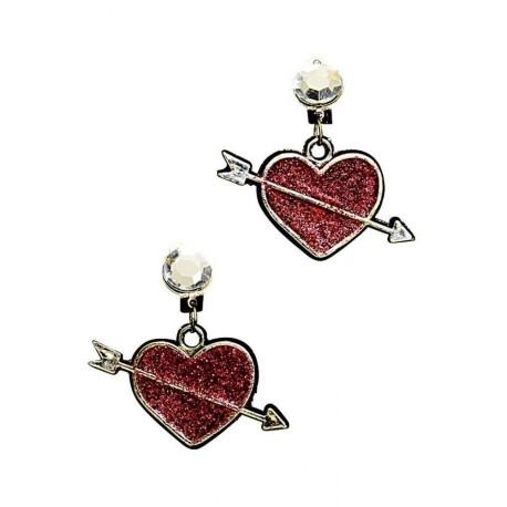 Boucles d'oreille coeur avec paillettes rouges et flèche bijoux Saint Valentin
