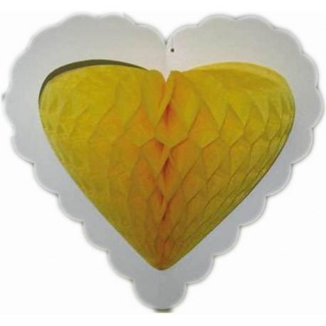 Coeur en papier alvéolé à suspendre décoration mariage cérémonie