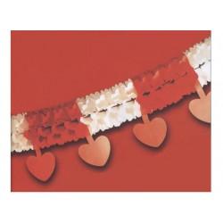 Guirlande rouge et blanche avec coeurs rouges décoration mariage cérémonie Saint Valentin
