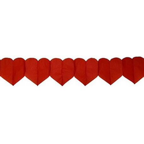 Guirlande coeurs rouges 6 mètres décoration mariage cérémonie