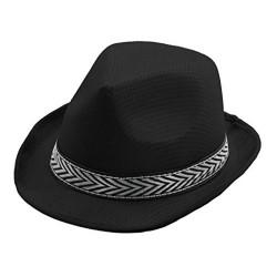 borsalino blanc ou noir en polyester avec un bandeau noir et argent