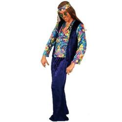 hippie bleu et multicolore en panne de velours 1968