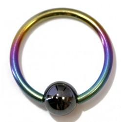 anneau 1.6 x 12 titane arc en ciel perle clipable en hématite