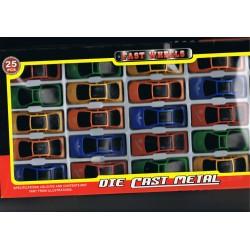25 petites voitures en metal et plastique en roue libre