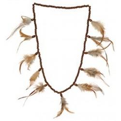 Collier indien perles en bois couleur acajou avec plumes de couleurs naturelles