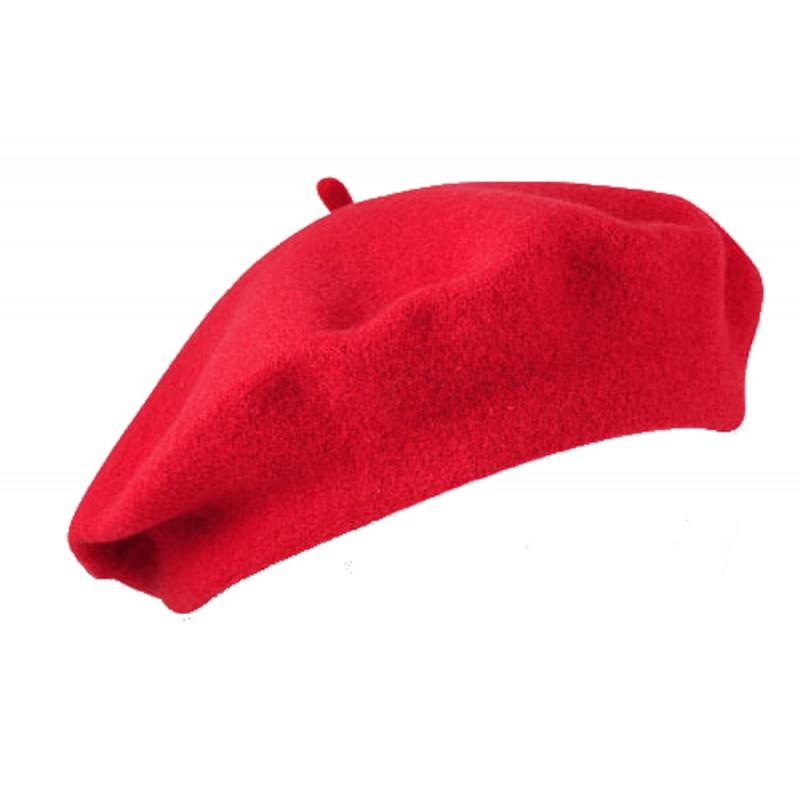 KGM Accessories Beret Barett en feutre 100 /% laine avec coutures /à la main Taille unique Rouge